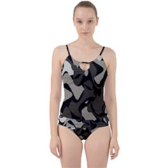 Trippy Sepia Paint Splash, Brown, Army Style Camo, Dotted Abstract Pattern Cut Out Top Tankini Set