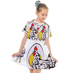 Roseanne Chicken, Retro Chickens Kids  Short Sleeve Shirt Dress by EvgeniaEsenina