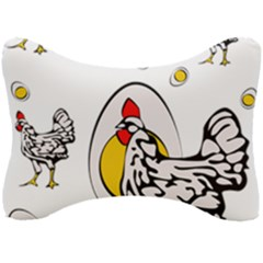 Roseanne Chicken, Retro Chickens Seat Head Rest Cushion by EvgeniaEsenina