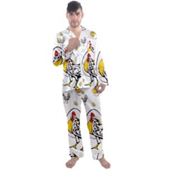 Roseanne Chicken, Retro Chickens Men s Long Sleeve Satin Pyjamas Set