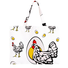 Roseanne Chicken, Retro Chickens Zipper Large Tote Bag