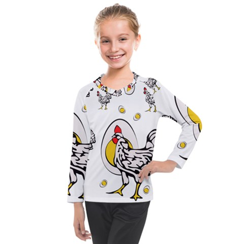 Roseanne Chicken, Retro Chickens Kids  Long Mesh Tee by EvgeniaEsenina