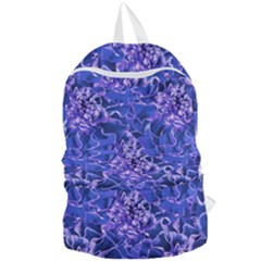 Vibrant Blue Flowers Pattern Motif Foldable Lightweight Backpack