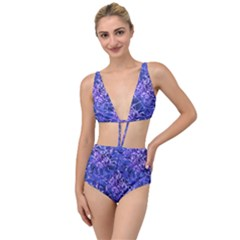 Vibrant Blue Flowers Pattern Motif Tied Up Two Piece Swimsuit by dflcprintsclothing