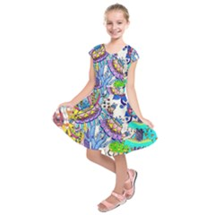Mountain Abstract Kids  Short Sleeve Dress