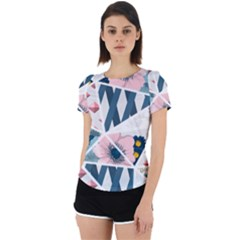 Patchwork  Back Cut Out Sport Tee