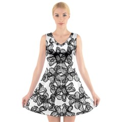 Stylized Botanical Motif Black And White Print V-neck Sleeveless Dress