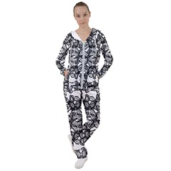 Stylized Botanical Motif Black And White Print Women s Tracksuit by dflcprintsclothing