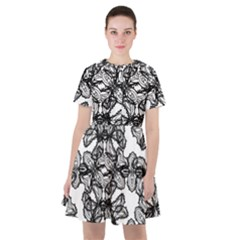 Stylized Botanical Motif Black And White Print Sailor Dress by dflcprintsclothing