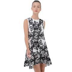 Stylized Botanical Motif Black And White Print Frill Swing Dress by dflcprintsclothing