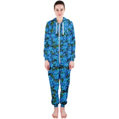 Blue Sakura Forest  Tree So Meditative And Calm Hooded Jumpsuit (ladies)  by pepitasart