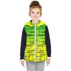Geometrical Lines Pattern, Asymmetric Blocks Theme, Line Art Kids  Hooded Puffer Vest