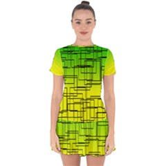 Geometrical Lines Pattern, Asymmetric Blocks Theme, Line Art Drop Hem Mini Chiffon Dress by Casemiro