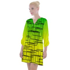 Geometrical Lines Pattern, Asymmetric Blocks Theme, Line Art Open Neck Shift Dress