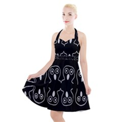 Ookpiks Ghosts Halter Party Swing Dress