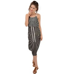 Abstract Metallic Spirals, Silver Color, Dark Grey, Graphite Colour Waist Tie Cover Up Chiffon Dress