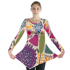 Spring Pattern Long Sleeve Tunic