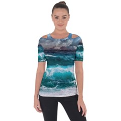 Ocean-waves-under-cloudy-sky-during-daytime Shoulder Cut Out Short Sleeve Top
