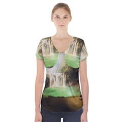Background-image-waterfall-jungle Short Sleeve Front Detail Top