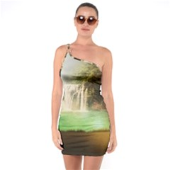Background-image-waterfall-jungle One Soulder Bodycon Dress