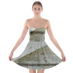Map-navigation-orientation-drawing-geography Strapless Bra Top Dress by Bejoart