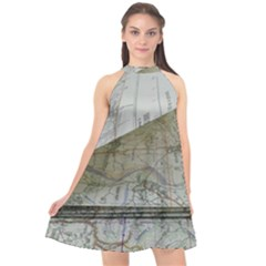 Map-navigation-orientation-drawing-geography Halter Neckline Chiffon Dress  by Bejoart