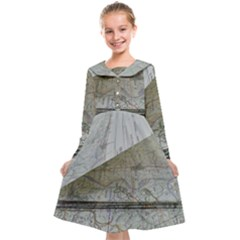 Map-navigation-orientation-drawing-geography Kids  Midi Sailor Dress