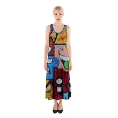Photography Multicolored Monster Painting Sleeveless Maxi Dress