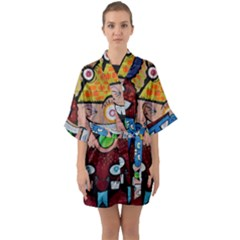 Photography Multicolored Monster Painting Half Sleeve Satin Kimono