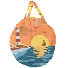 Sea-retro-poster Giant Round Zipper Tote