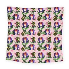 60s Girl Pink Floral Daisy Square Tapestry (large)