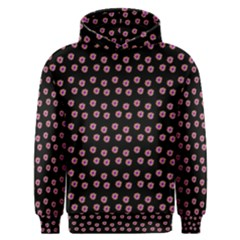 Peach Purple Daisy Flower Black Men s Overhead Hoodie