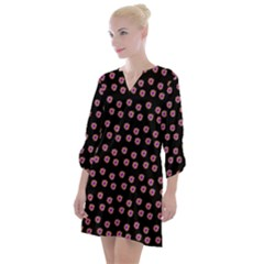 Peach Purple Daisy Flower Black Open Neck Shift Dress