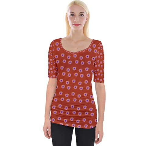 Peach Purple Daisy Flower Red Wide Neckline Tee by snowwhitegirl