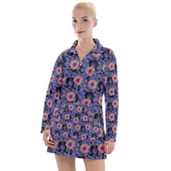 60s Girl Floral Blue Women s Long Sleeve Casual Dress