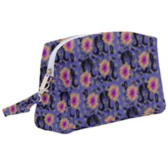 60s Girl Floral Blue Wristlet Pouch Bag (large) by snowwhitegirl