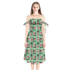 60s Girl Floral Green Shoulder Tie Bardot Midi Dress