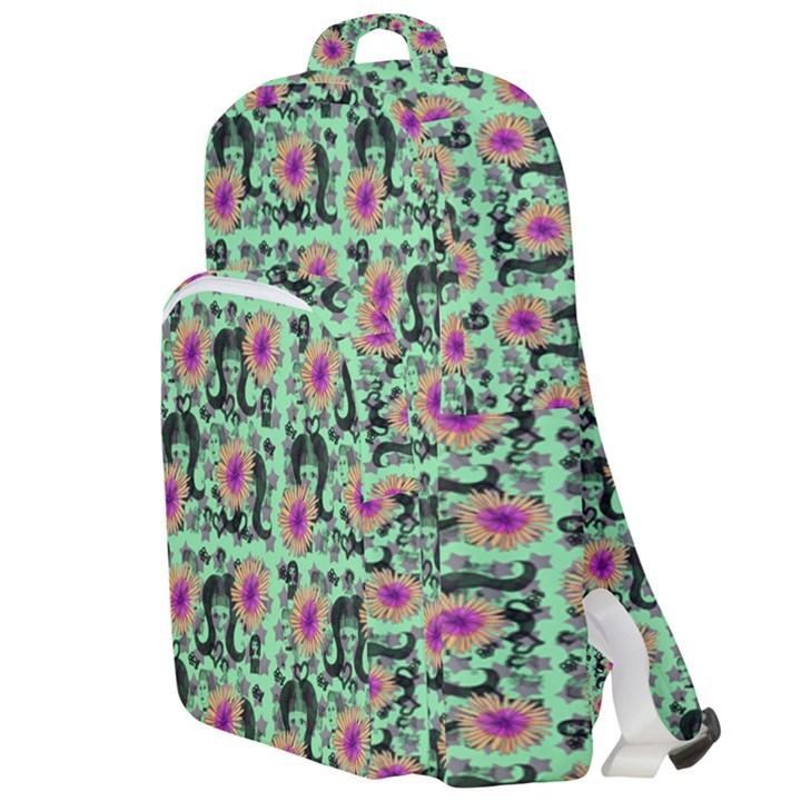 60s Girl Floral Green Double Compartment Backpack