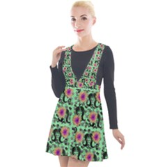 60s Girl Floral Green Plunge Pinafore Velour Dress by snowwhitegirl