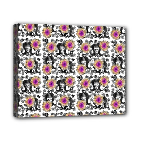 60s Girl Floral White Canvas 10  X 8  (stretched)