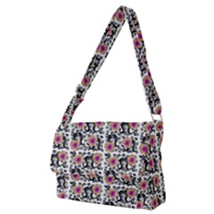 60s Girl Floral White Full Print Messenger Bag (m)