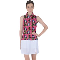 60s Girl Dark Pink Floral Daisy Women s Sleeveless Polo Tee by snowwhitegirl