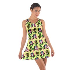 60s Girl Yellow Floral Daisy Cotton Racerback Dress