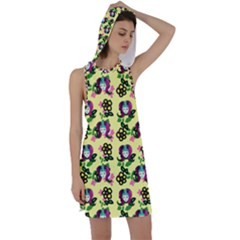 60s Girl Yellow Floral Daisy Racer Back Hoodie Dress