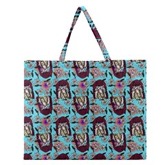 Braids Doll Daisies Blue Zipper Large Tote Bag