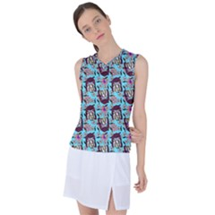 Braids Doll Daisies Blue Women s Sleeveless Sports Top by snowwhitegirl