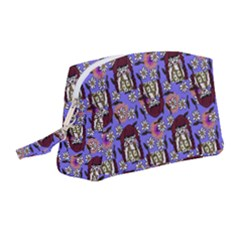 Braids Doll Daisies Purple Wristlet Pouch Bag (medium) by snowwhitegirl