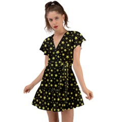 Yellow Stars Flutter Sleeve Wrap Dress