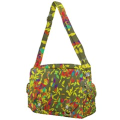 Colorful Brush Strokes Painting On A Green Background                                                 Buckle Multifunction Bag by LalyLauraFLM