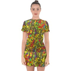 Colorful Brush Strokes Painting On A Green Background                                                       Drop Hem Mini Chiffon Dress by LalyLauraFLM